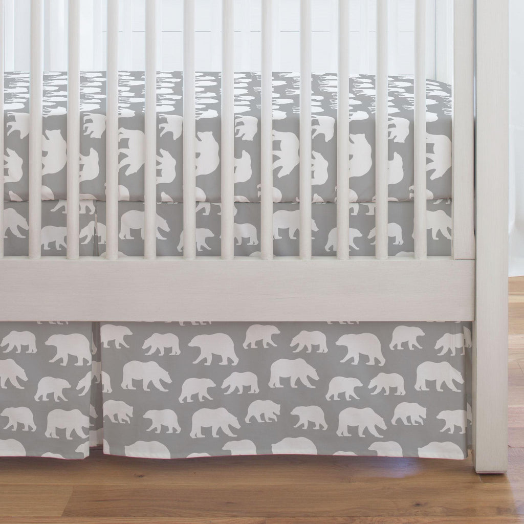 Product image for Silver Gray and White Bears Crib Skirt Single-Pleat
