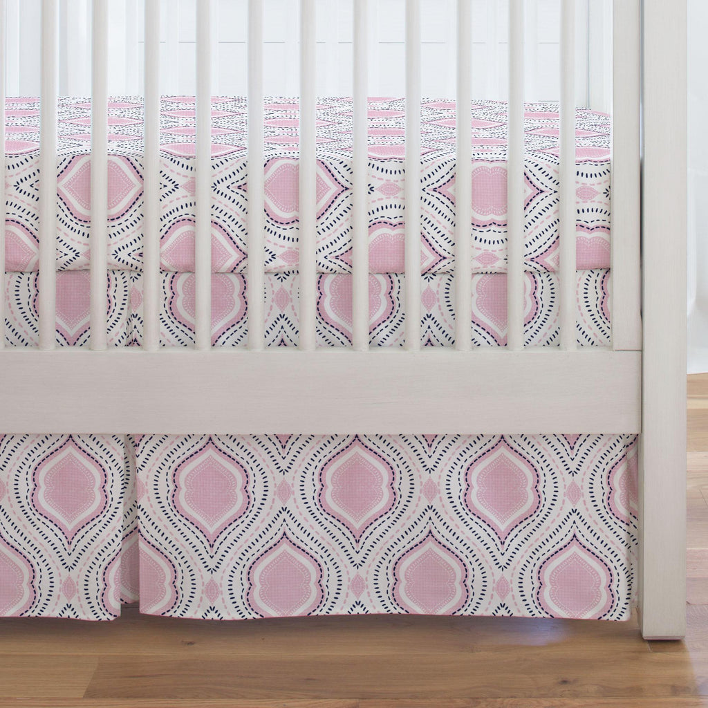 Product image for Pink and Navy Moroccan Damask Crib Skirt Single-Pleat
