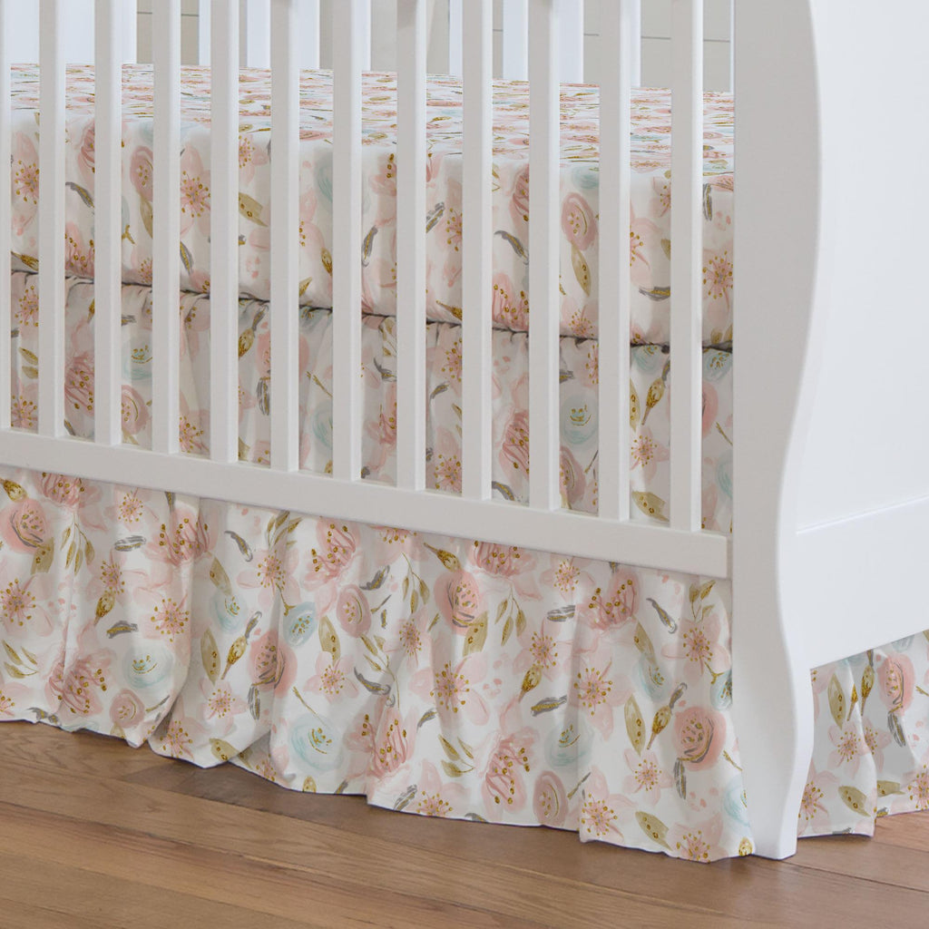 Product image for Pink Hawaiian Floral Crib Skirt 17-Inch Gathered