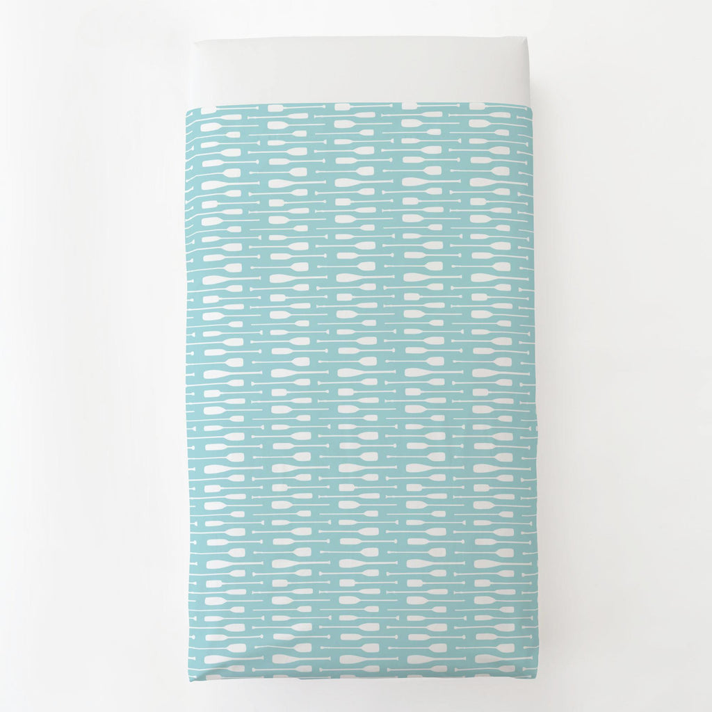 Product image for Seafoam Aqua and White Oars Toddler Sheet Top Flat