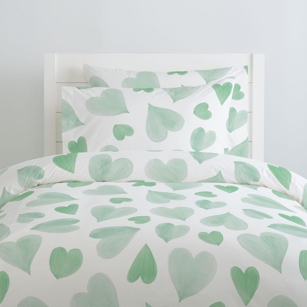 Product image for Mint Watercolor Hearts Pillow Case
