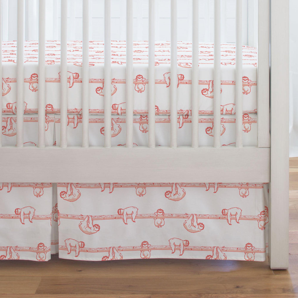 Product image for Coral Sloth Crib Skirt Single-Pleat