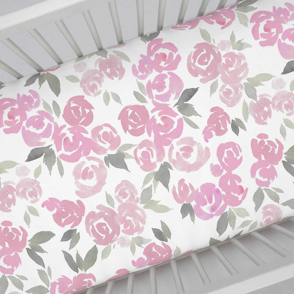 Product image for Pink and Gray Watercolor Roses Crib Sheet