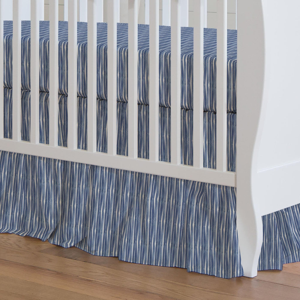 Product image for Blue Ocean Stripe Crib Skirt Gathered
