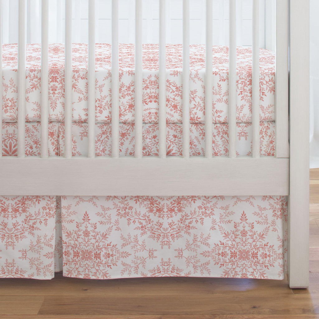 Product image for Light Coral Floral Damask Crib Skirt Single-Pleat