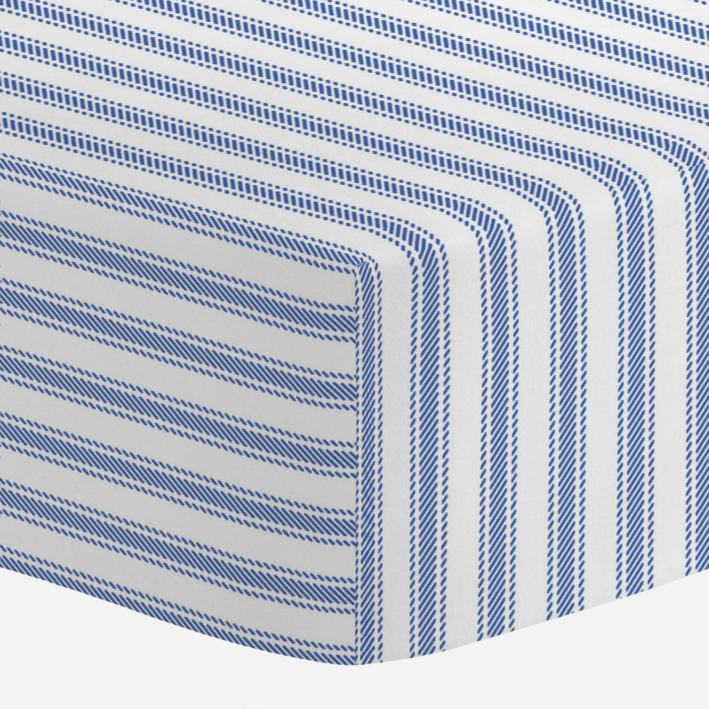 Product image for Ocean Blue Ticking Stripe Mini Crib Sheet