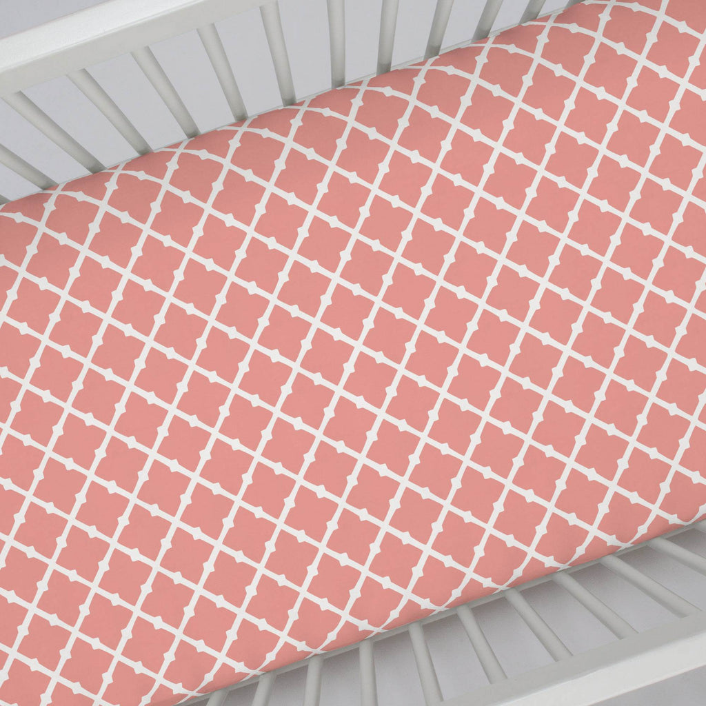 Product image for Light Coral Lattice Crib Sheet