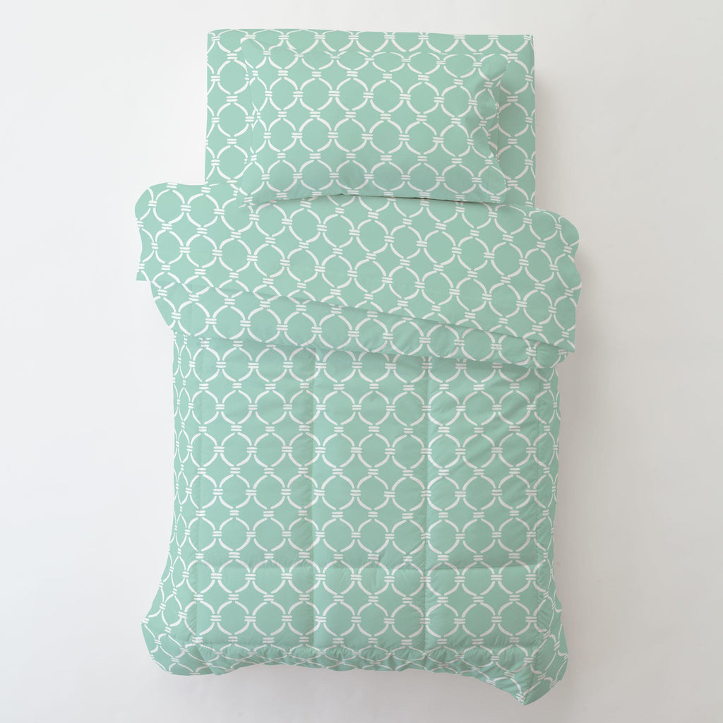 Product image for Mint and White Lattice Circles Toddler Pillow Case with Pillow Insert