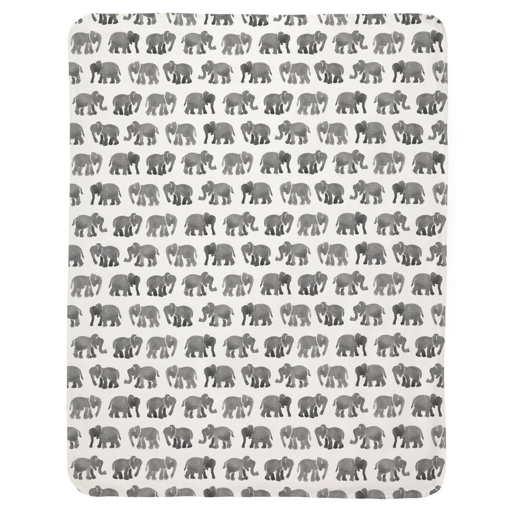 Product image for Gray Watercolor Elephants Baby Blanket