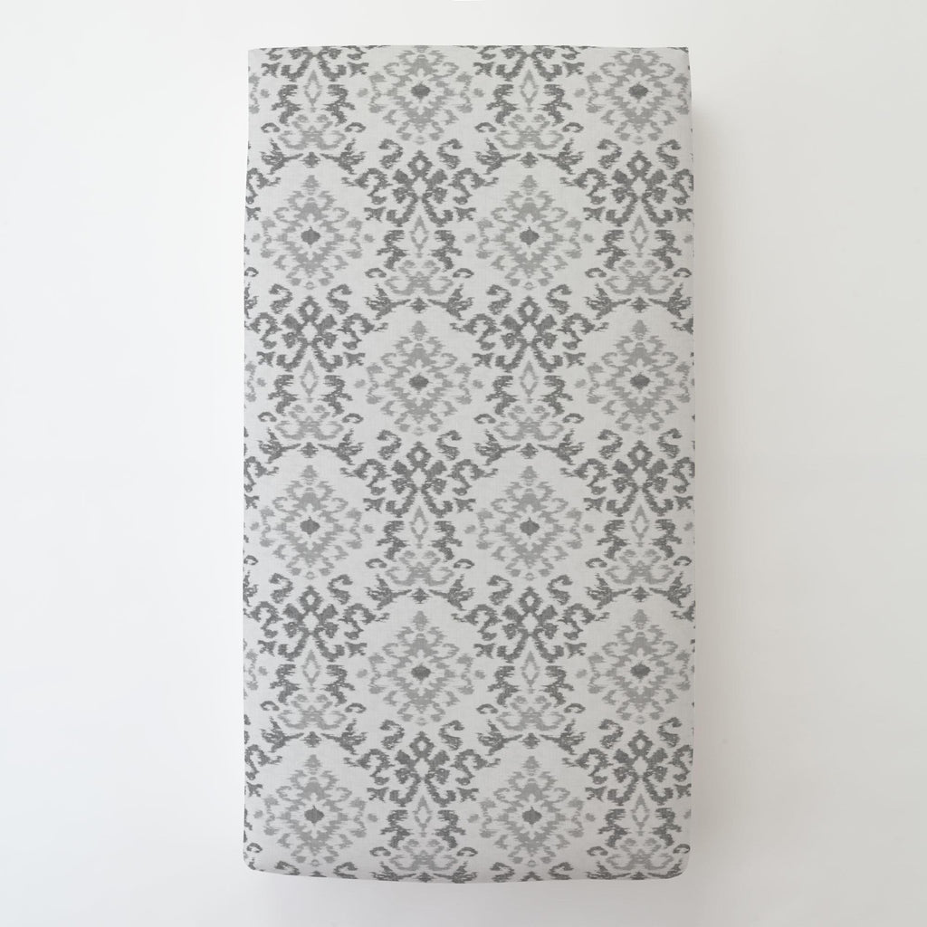 Product image for Gray Ikat Damask Toddler Sheet Bottom Fitted