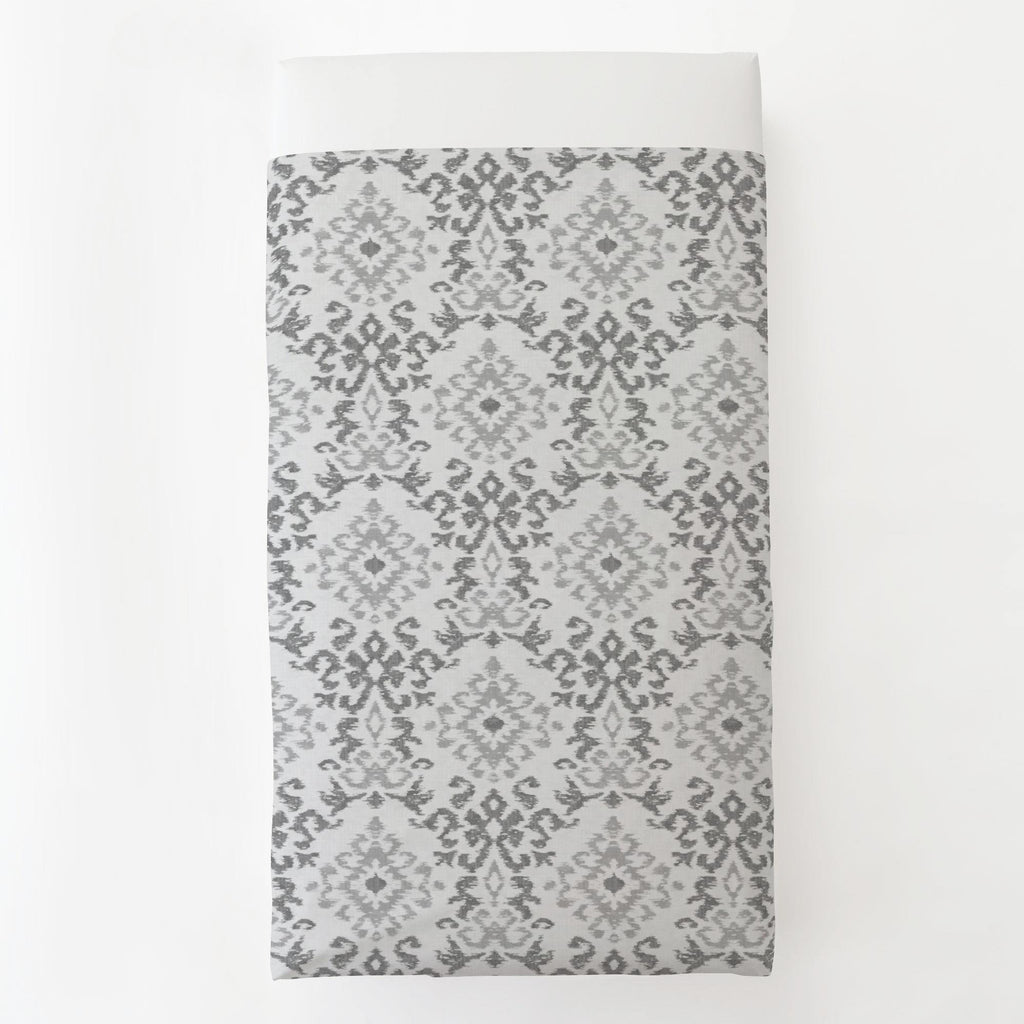 Product image for Gray Ikat Damask Toddler Sheet Top Flat
