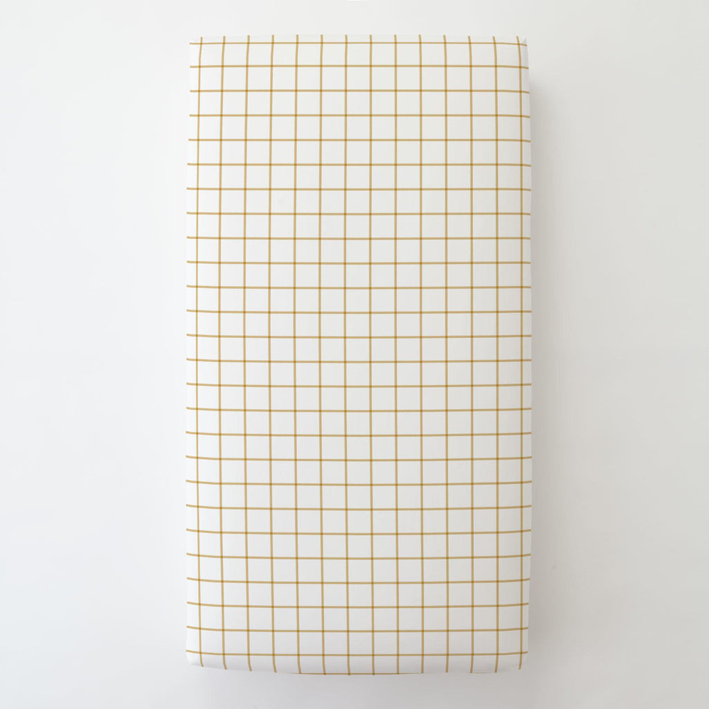 Product image for Mustard Windowpane Toddler Sheet Bottom Fitted