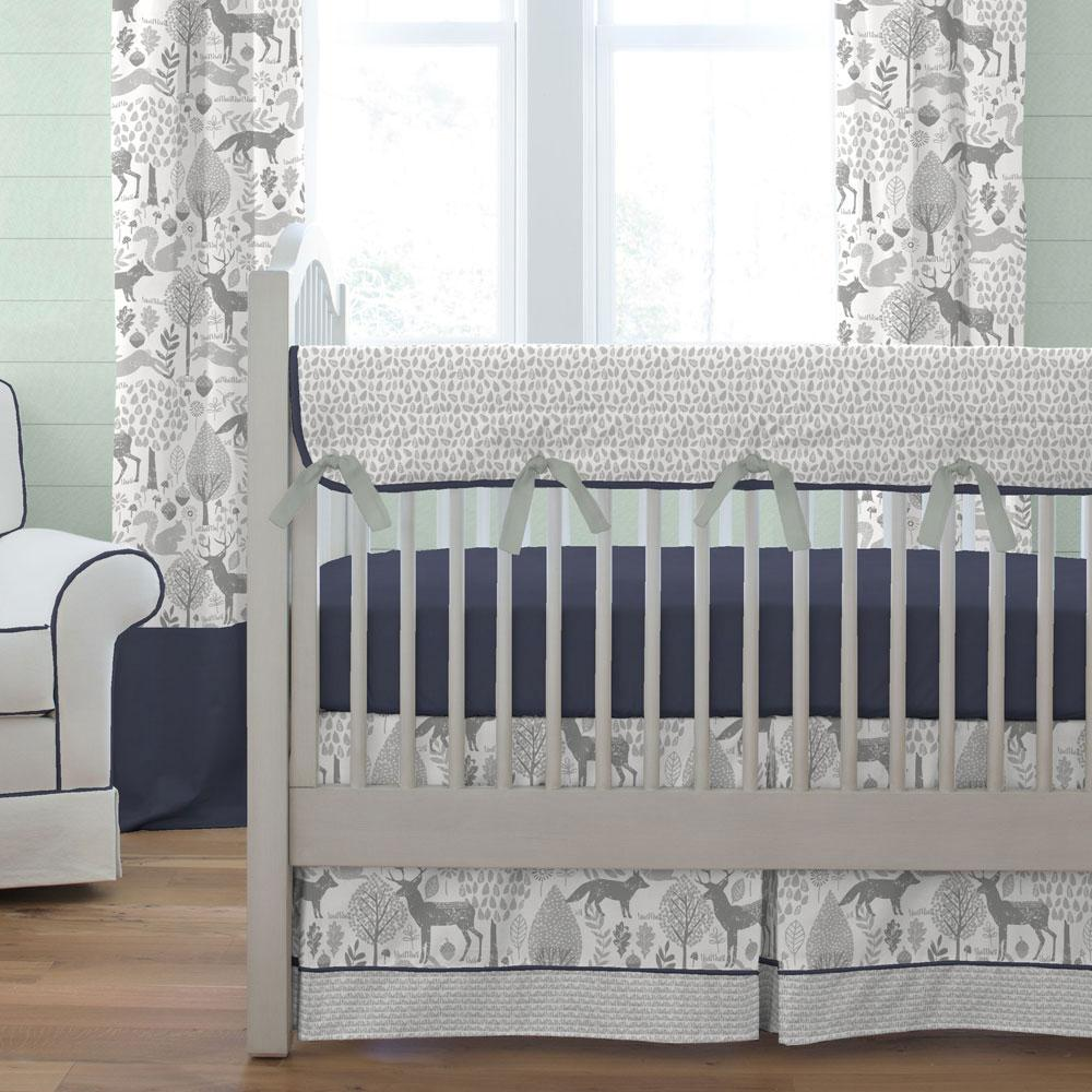 Product image for Navy and Gray Woodland Crib Comforter with Piping