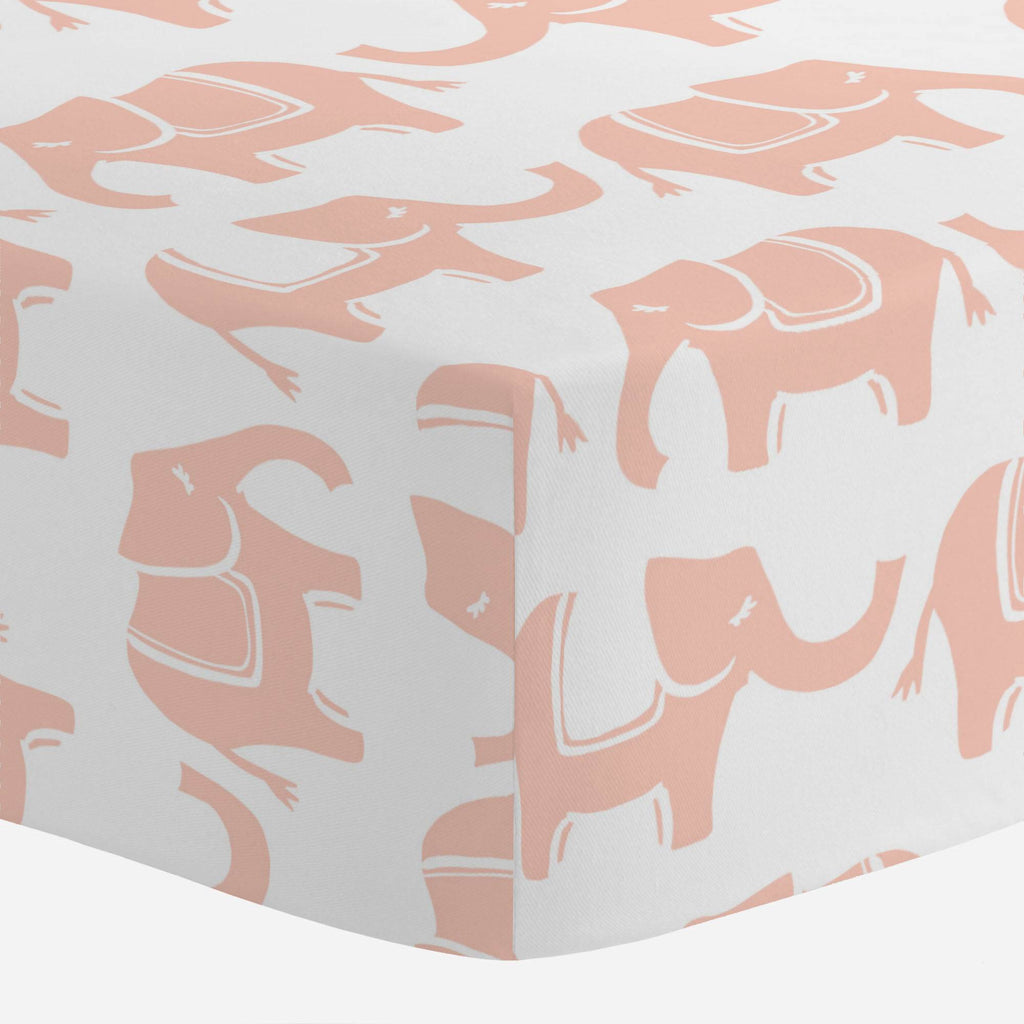 Product image for Peach Marching Elephants Mini Crib Sheet