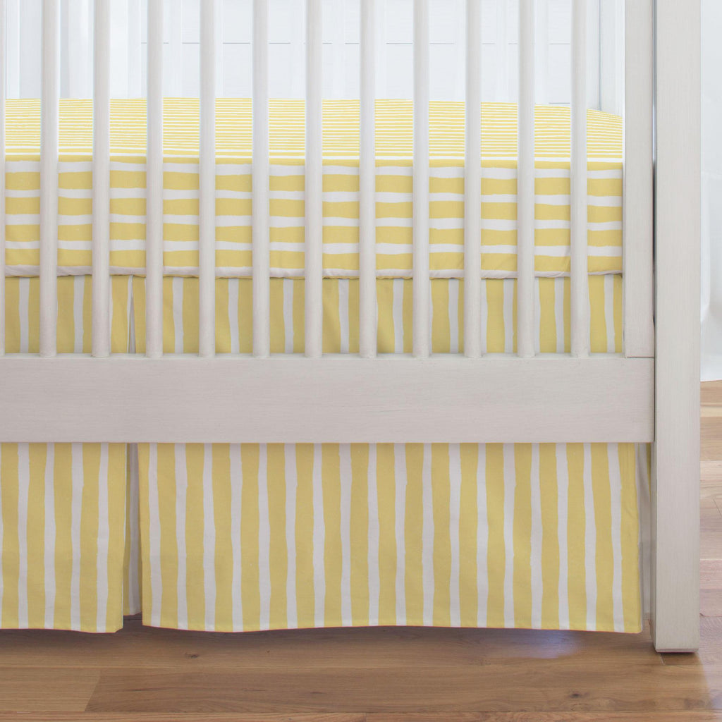 Product image for Banana Yellow Weathered Stripe Crib Skirt Single-Pleat