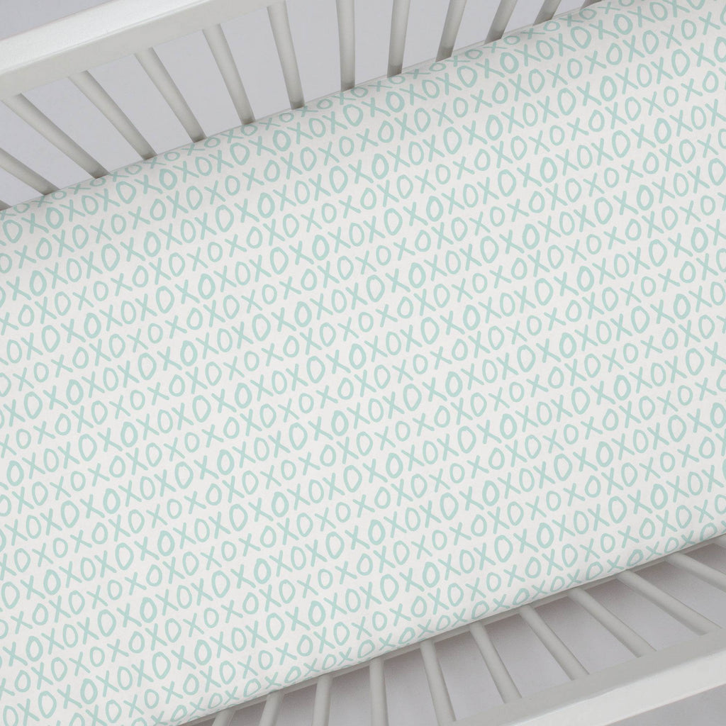 Product image for Icy Mint XO Crib Sheet