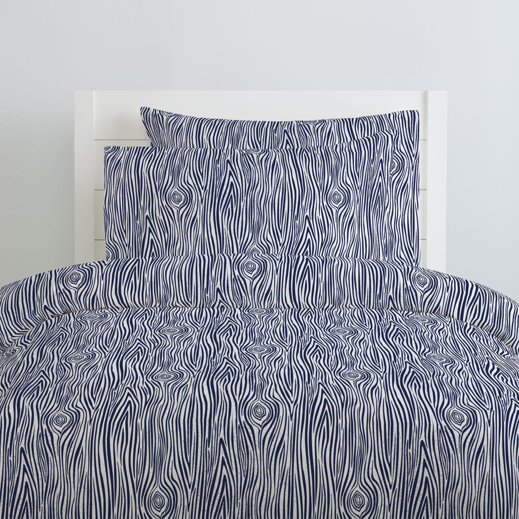 Product image for Navy Woodgrain Pillow Case