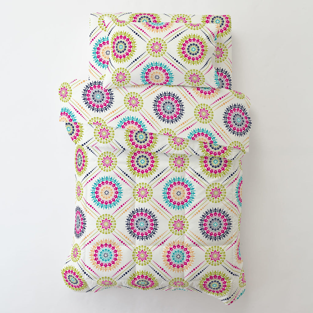 Product image for Navy and Teal Modern Medallion Toddler Pillow Case with Pillow Insert