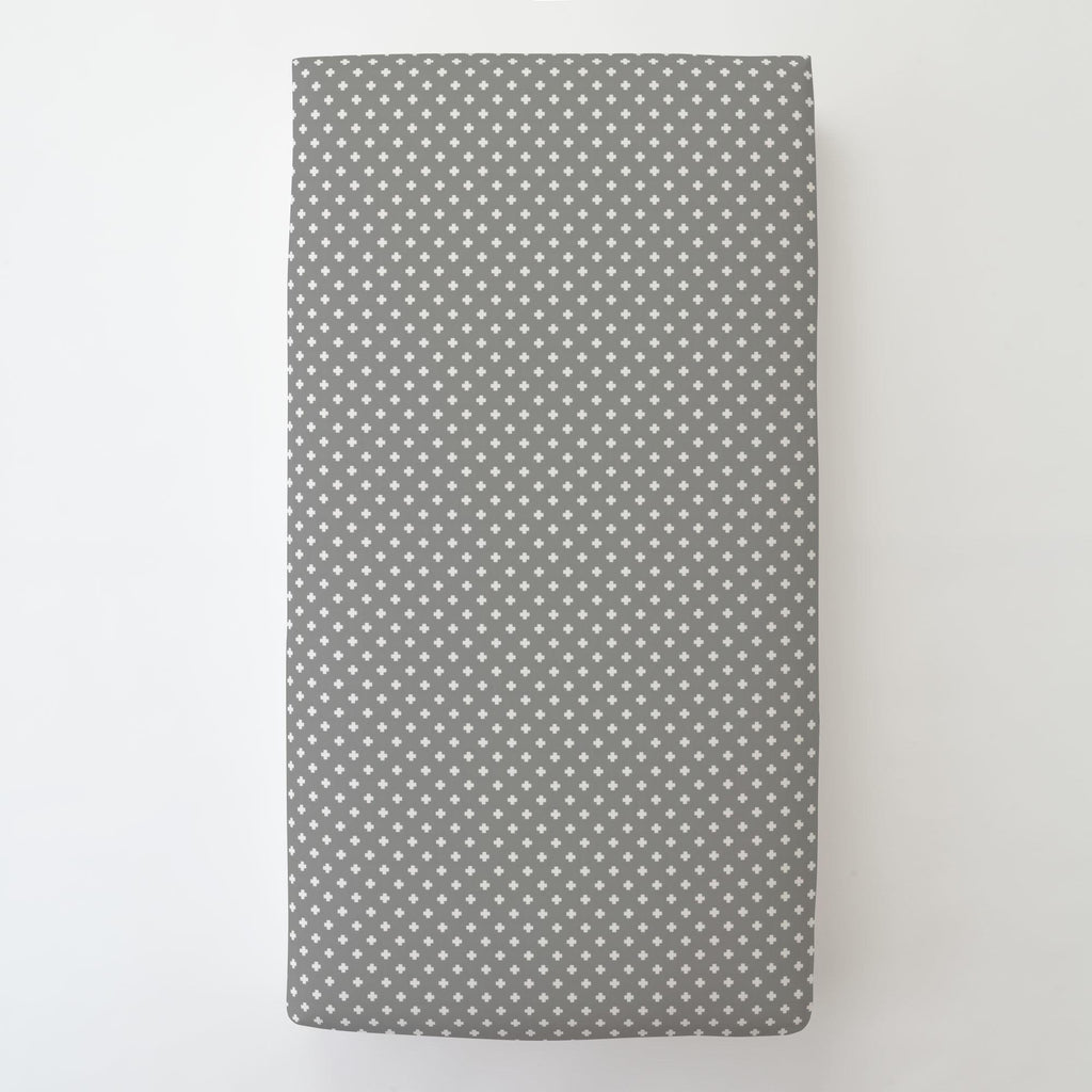Product image for Gray Mini Swiss Cross Toddler Sheet Bottom Fitted