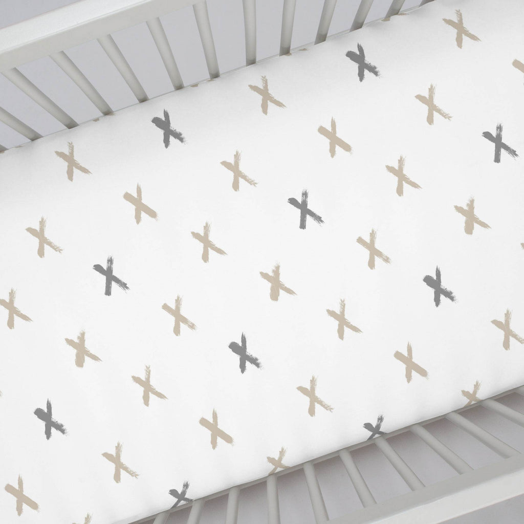 Product image for Taupe and Cloud Gray Brush X Crib Sheet