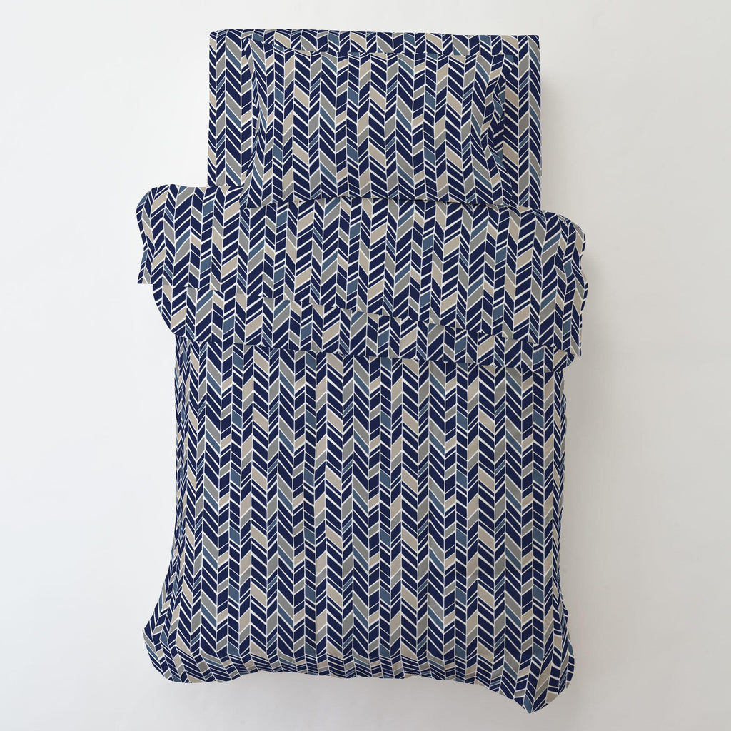 Product image for Taupe and Windsor Navy Herringbone Toddler Pillow Case with Pillow Insert