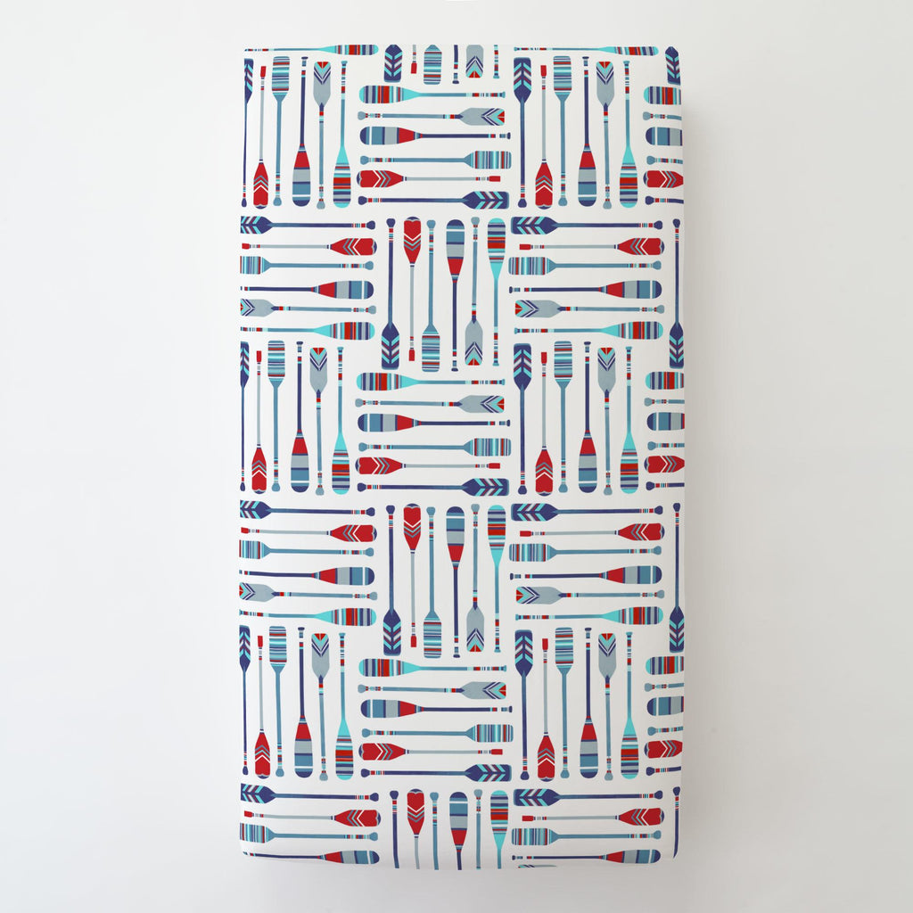 Product image for Red and Blue Oars Toddler Sheet Bottom Fitted