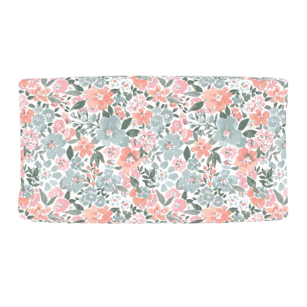 Product image for Peach Prairie Floral Changing Pad Cover