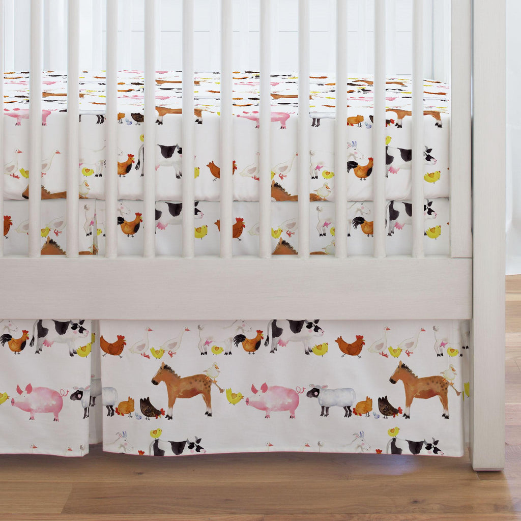 Product image for Painted Farm Animals Crib Skirt Single-Pleat