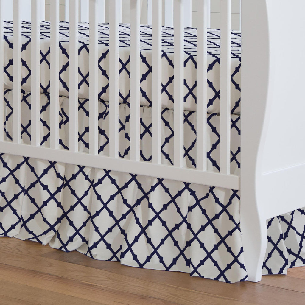 Product image for Windsor Navy Lattice Crib Skirt Gathered