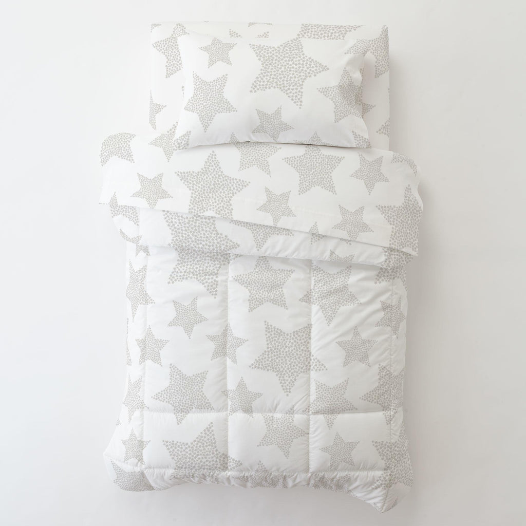 Product image for French Gray Galaxy Stars Toddler Pillow Case