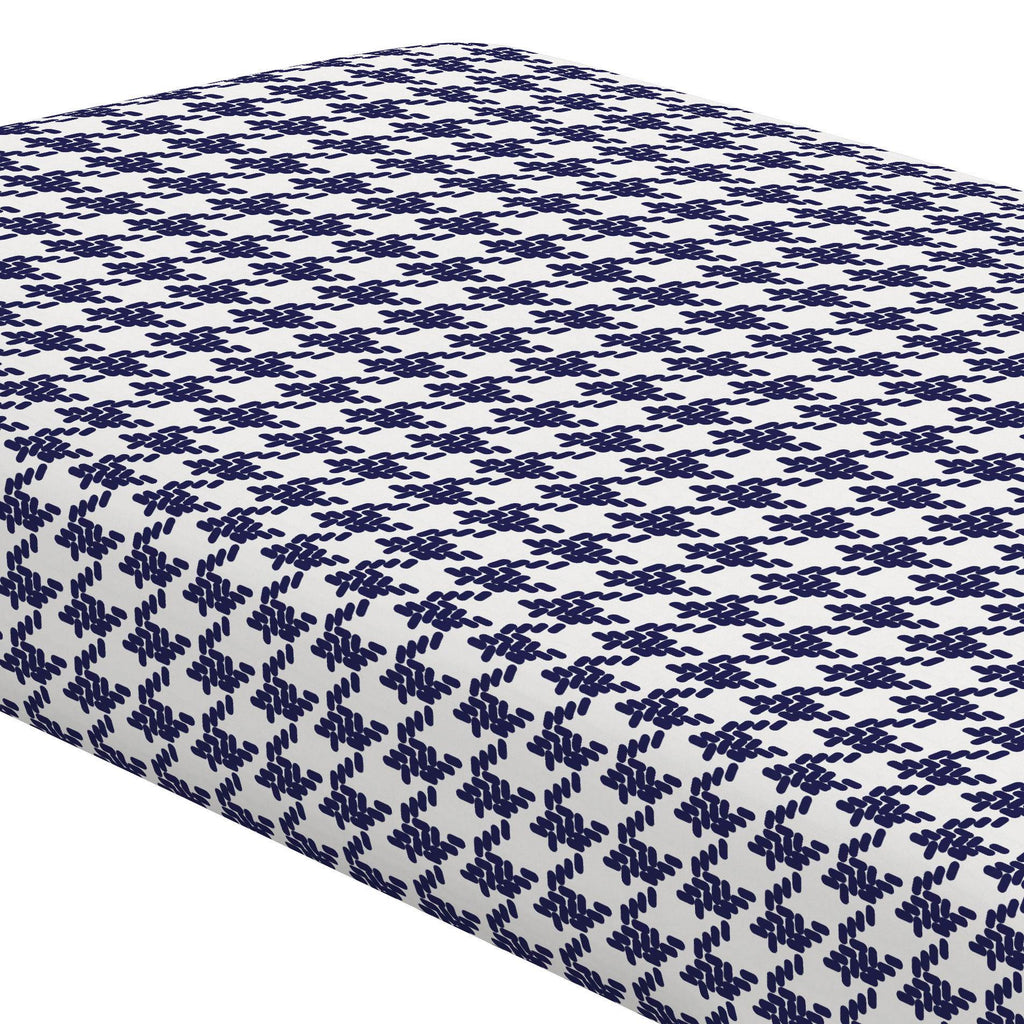 Product image for Windsor Navy Modern Houndstooth Crib Sheet