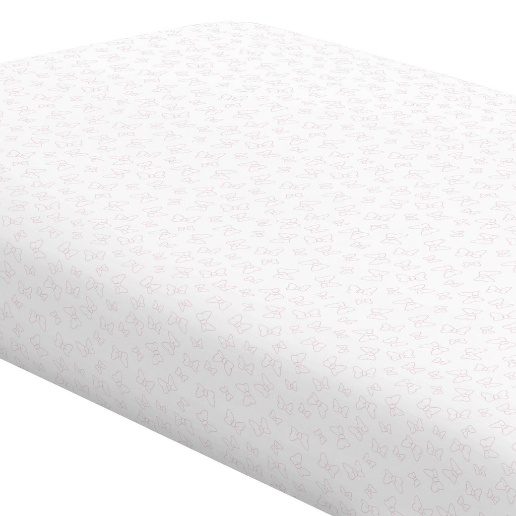 Product image for Disney© Bubblegum Minnie Bows Crib Sheet