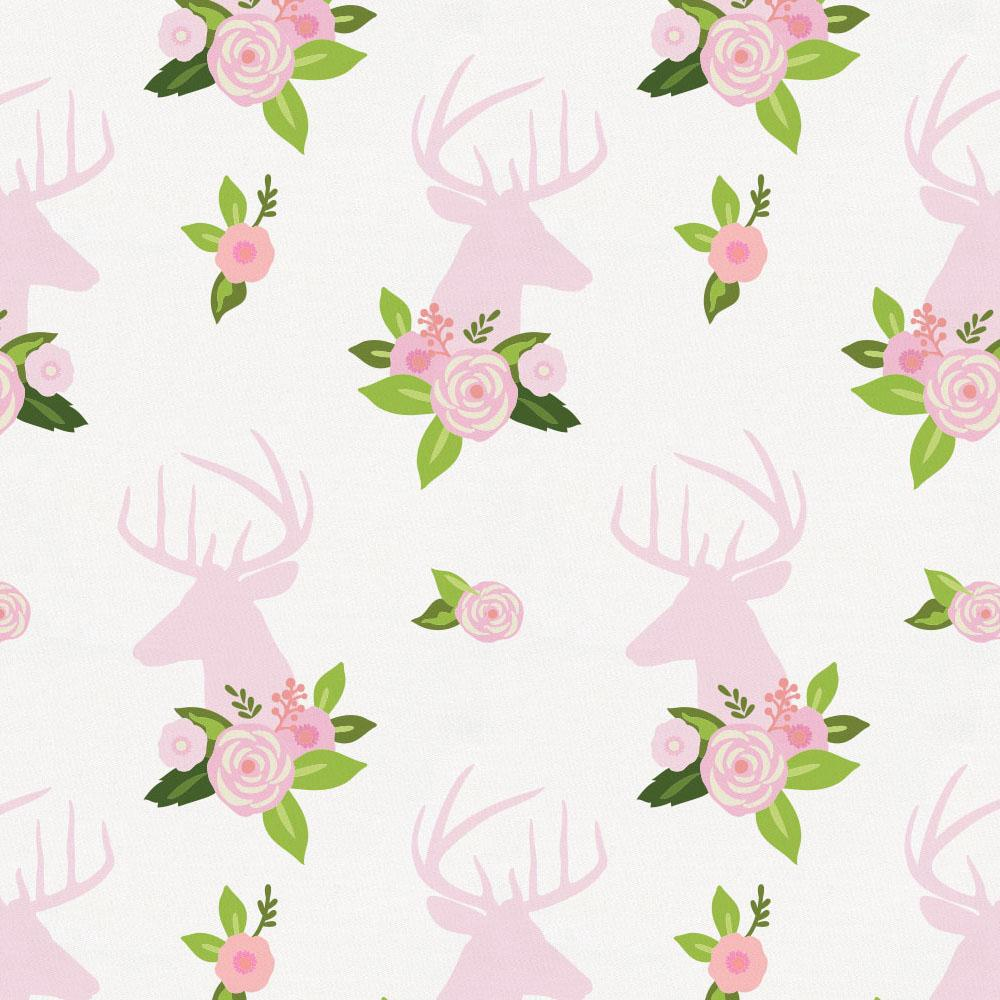 Product image for Pink Floral Deer Head Crib Skirt Gathered