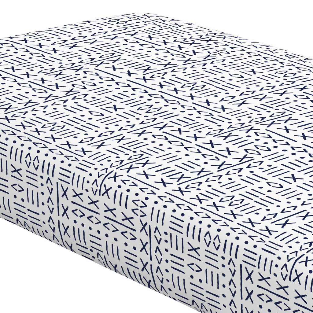 Product image for Navy Mudcloth Crib Sheet