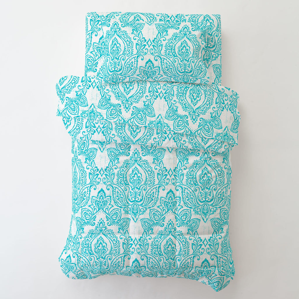 Product image for White and Teal Vintage Damask Toddler Sheet Bottom Fitted