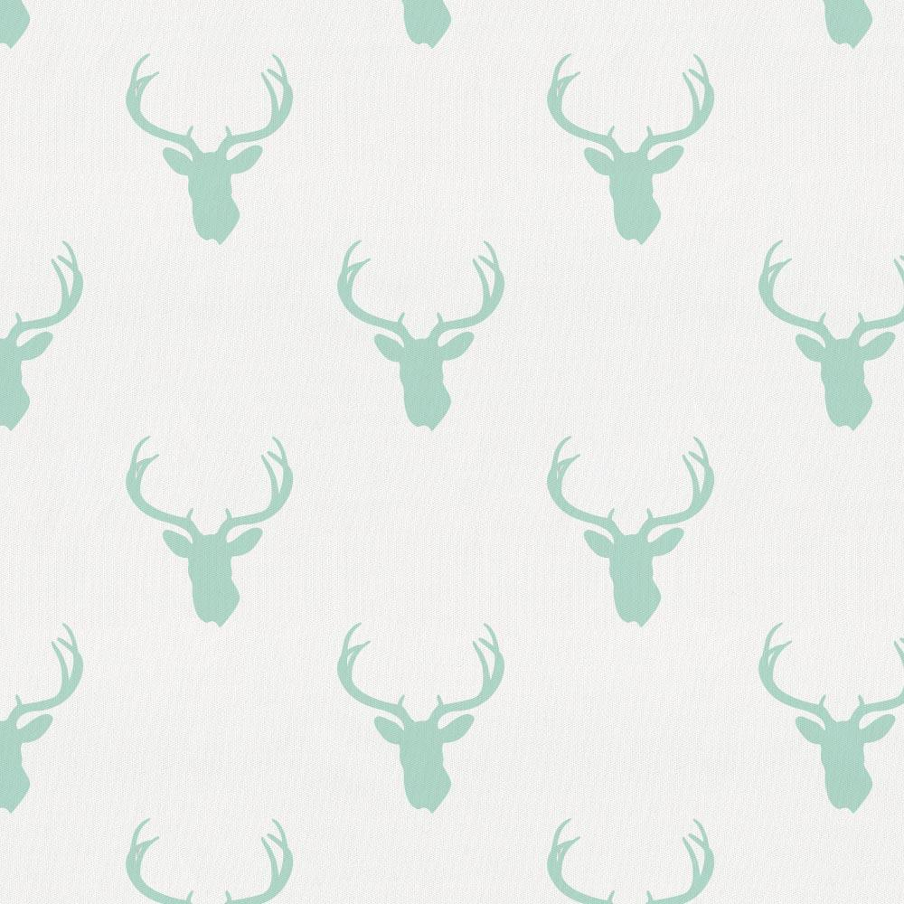 Product image for Mint Deer Silhouette Crib Skirt Single-Pleat