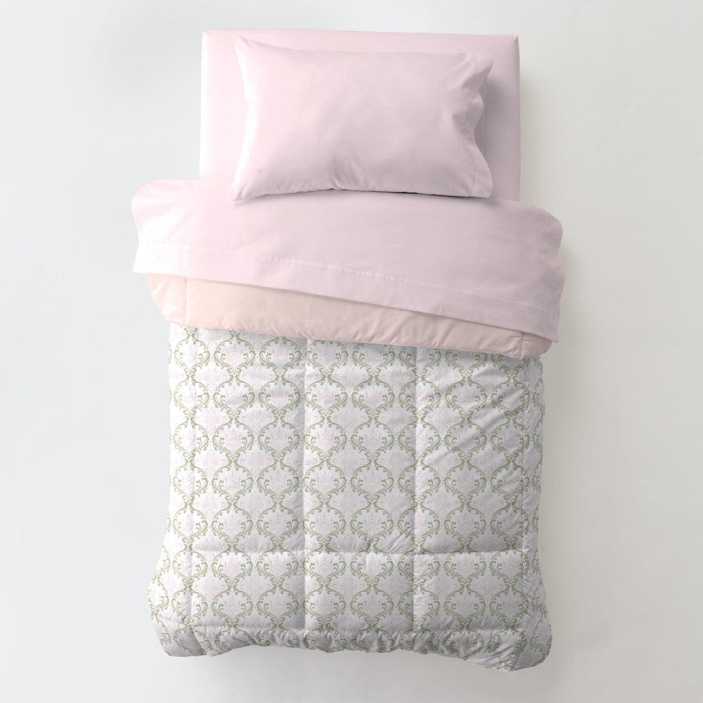 Product image for Pink and Taupe Damask Toddler Comforter
