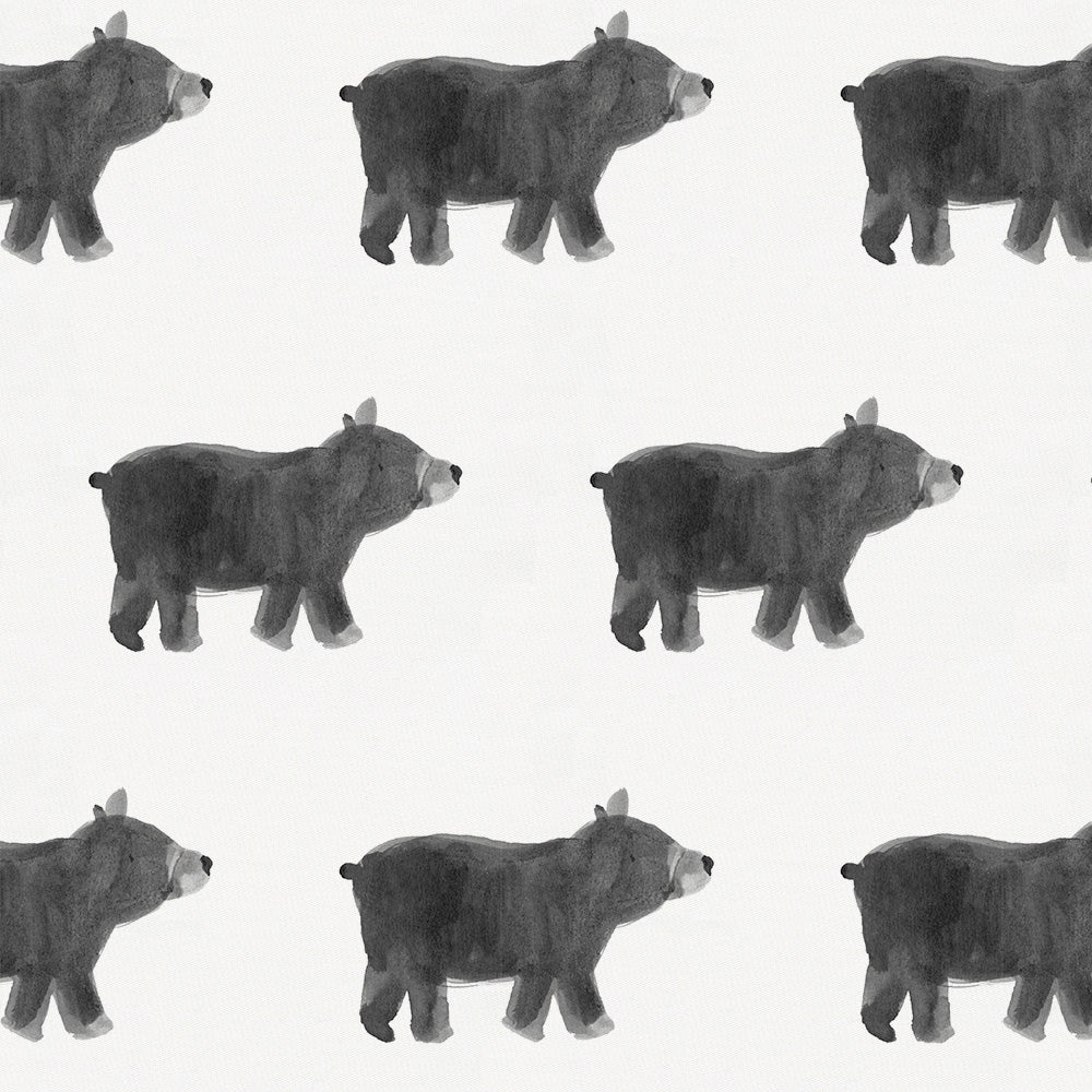 Product image for Gray Painted Bear Crib Skirt Gathered