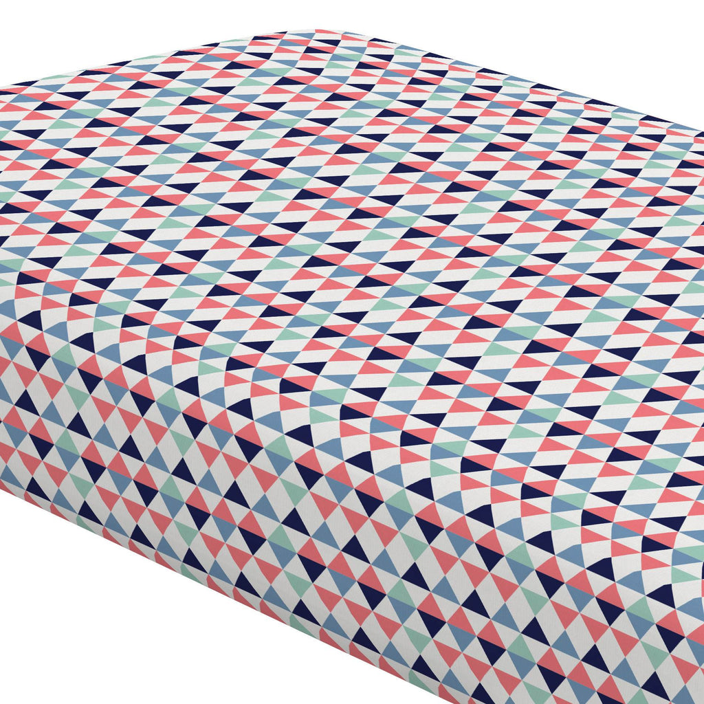 Product image for Coral and Mint Triangles Crib Sheet
