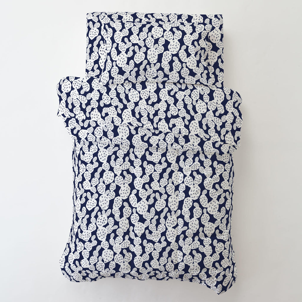 Product image for Navy Prickly Pear Toddler Sheet Bottom Fitted
