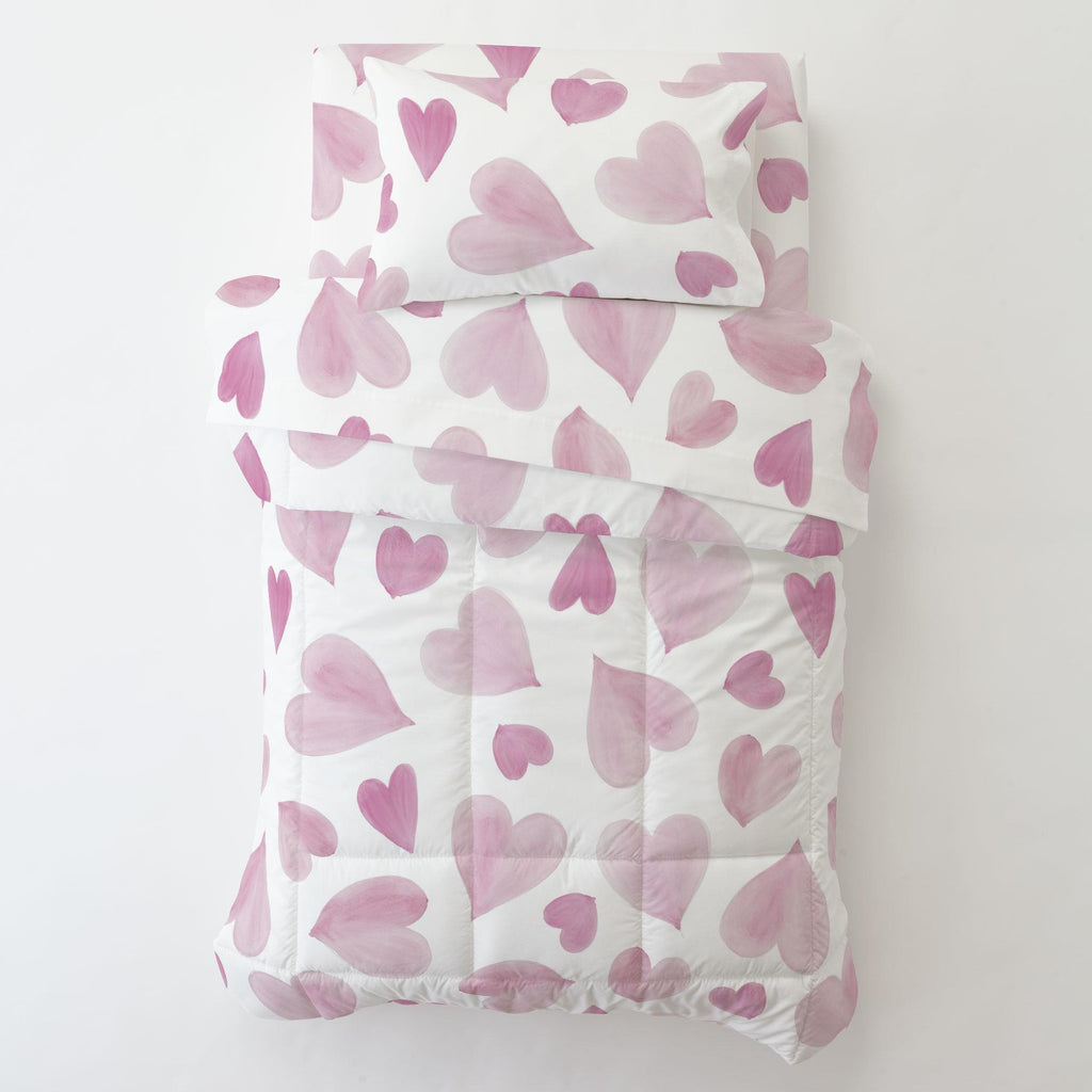 Product image for Pink Watercolor Hearts Toddler Pillow Case