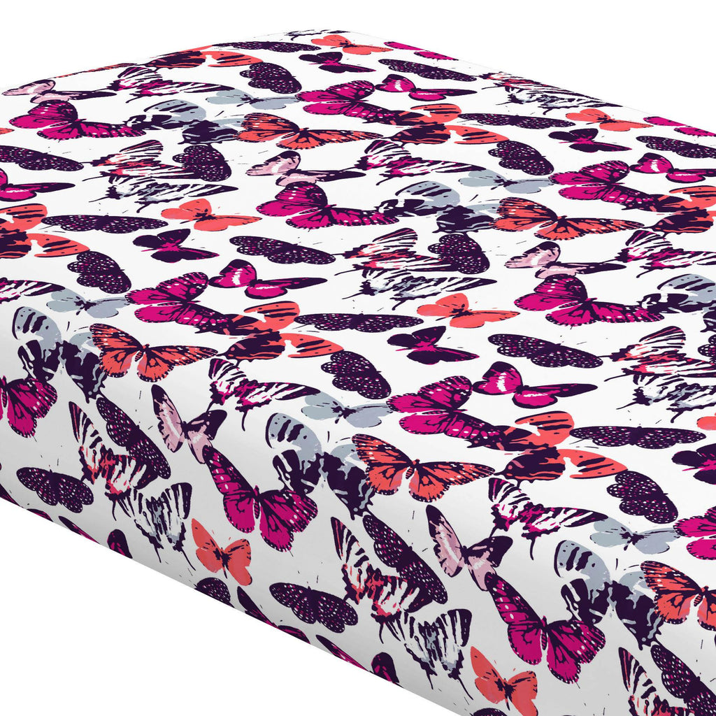 Product image for Fuchsia Modern Butterflies Crib Sheet