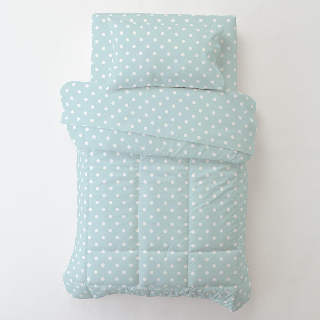 Product image for Mist and White Polka Dot Toddler Pillow Case
