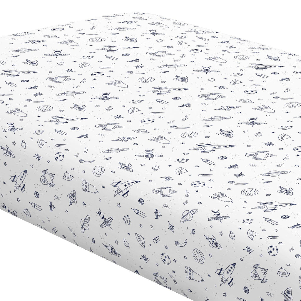 Product image for Windsor Navy and White Rockets Crib Sheet