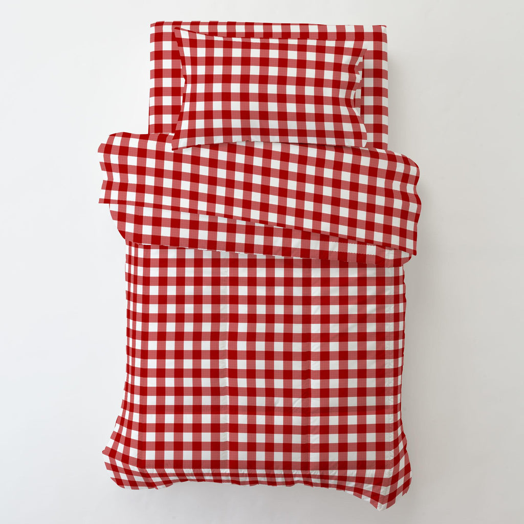 Product image for Red Gingham Toddler Sheet Bottom Fitted