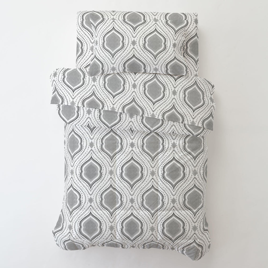 Product image for Gray Moroccan Damask Toddler Sheet Bottom Fitted