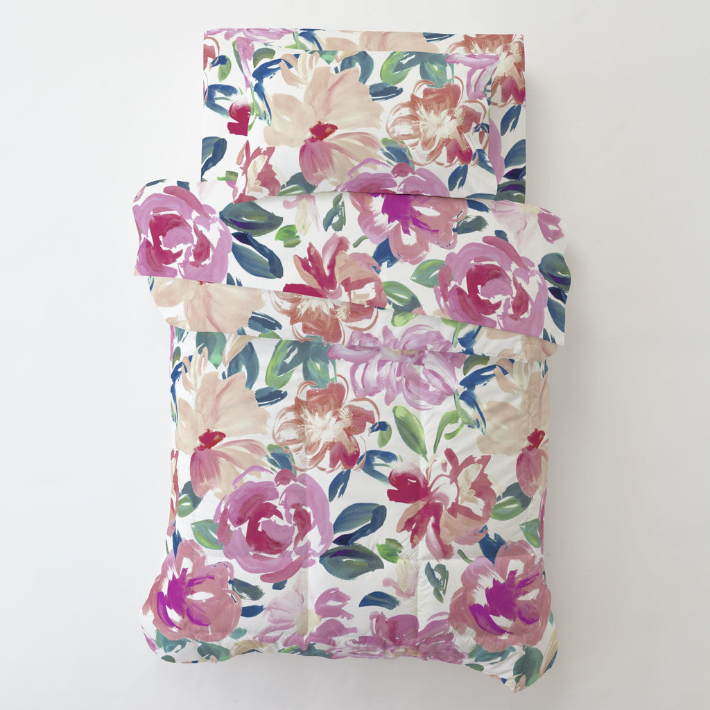 Product image for Pink Brushstroke Floral Toddler Sheet Bottom Fitted