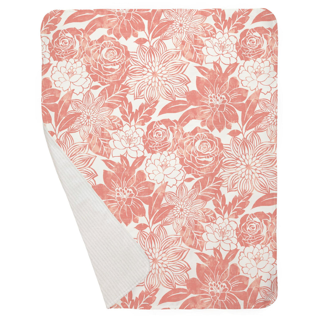Product image for Light Coral Modern Blooms Baby Blanket