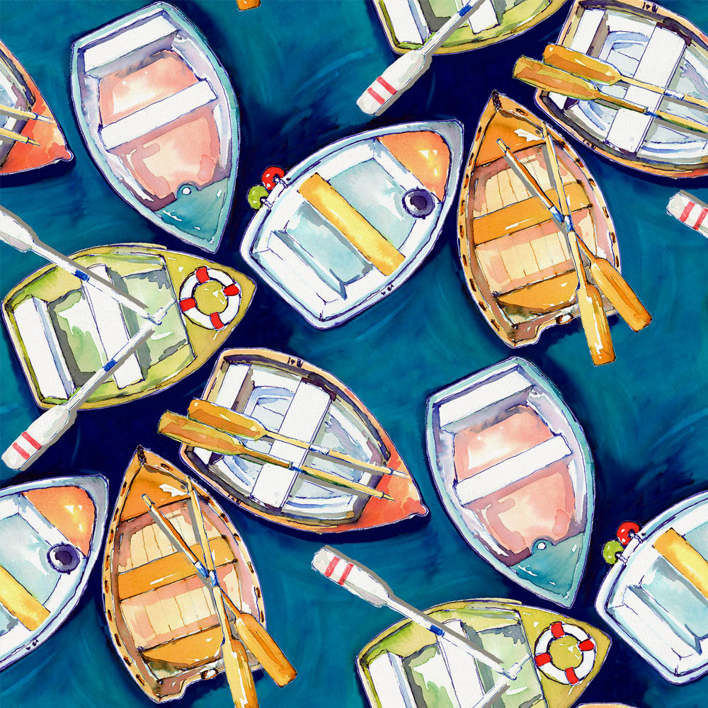 Product image for Blue Watercolor Boats Fabric