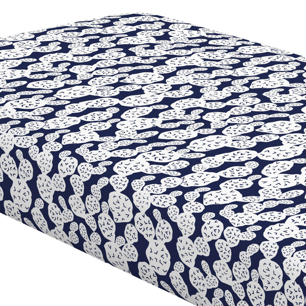 Product image for Navy Prickly Pear Crib Sheet